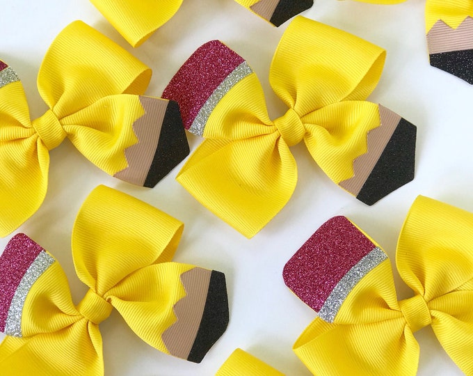 Pencil HairBows - order as a single bow or pigtail set - perfect for kindergarten or preschool