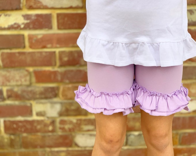 Lavender Ruffle Shorties, Light purple Ruffle Shorts - knit ruffle shorties sizes 6m to girls 10 - Free Shipping