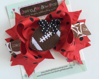 Football Team bow with optional headband -- choose your team colors -- large bow in polka dots and stripes with team colors