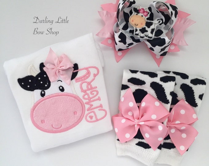 Baby Girl Outfit, Baby Girl Gift, Cow Outfit - Udderly Adorable - bodysuit, leg warmers, bow - pink cow theme outfit