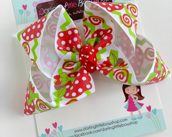 "Back to School Bow -- BookWorm Apple Bow -- 4-5"" hairbow"