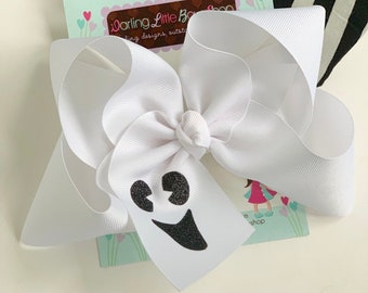 "Halloween Bow -- Ghost Bow -- White Boutique Bow with a glittery ghost face - Choose 4-5"" or 6-7"""