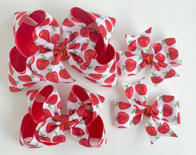 "Apple Bow -- Watercolor Apples hairbows choose 4-5"", 6"" or 3"" pigtail bows"