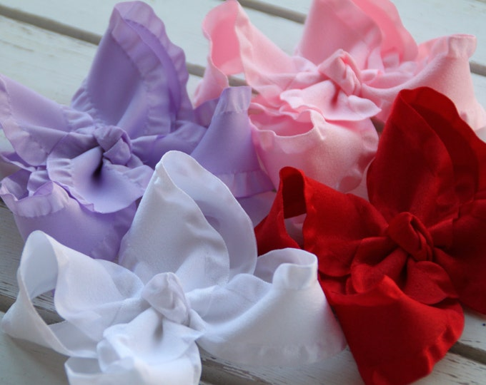 Ruffle Bow Set -- Candy Hearts Collection -- Red, Lavender, Pink and White -- Valentine Bow Set