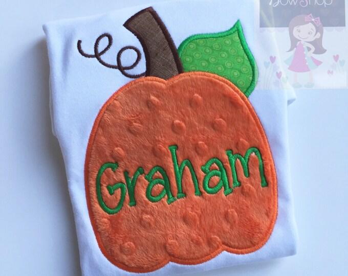 Boys pumpkin bodysuit or shirt -- Thanksgiving shirt or bodysuit  -- minky Pumpkin -- orange minky and green pumpkin