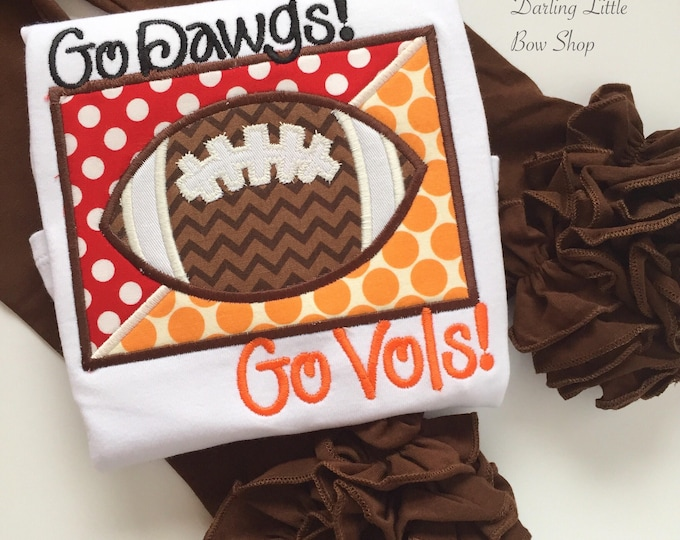 House Divided Football Shirt or bodysuit for Girls - choose two teams  for the custest girl's football shirt
