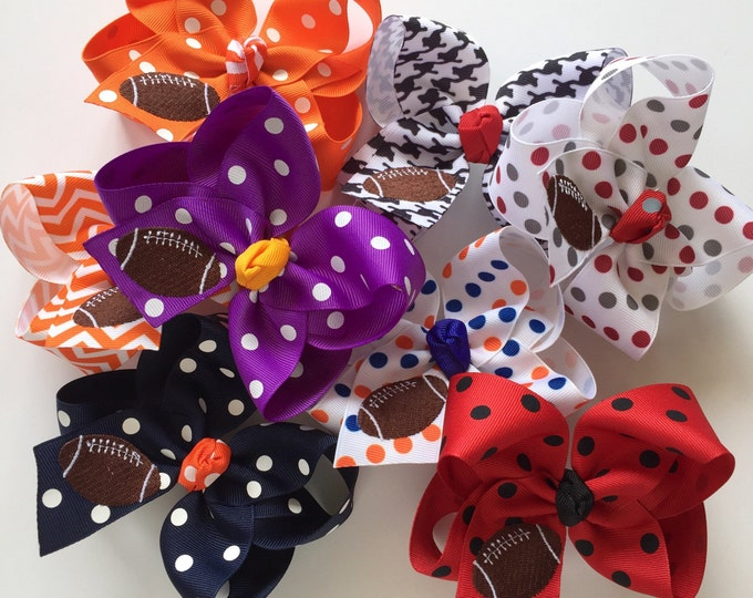 Football bow for girls - football theme in your team colors -- monogrammed football hairbow with optional headband