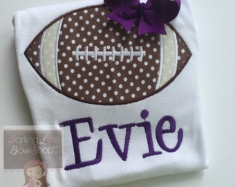 Girls Football Bodysuit or shirt  -- Football Princess -- Personalized football bodysuit with CHOICE of Color and name