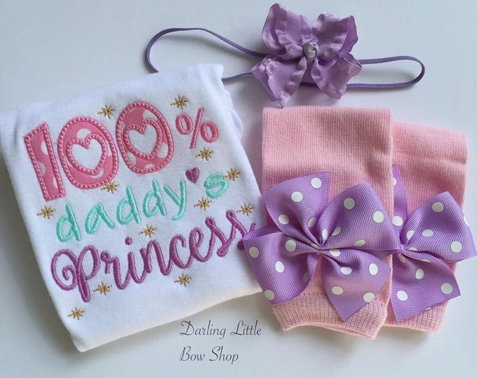 Baby Girl Take Home Outfit - Daddy's Princess -- bodysuit, leg warmers, and bow in aqua, pink, lavender and gold - Father's Day