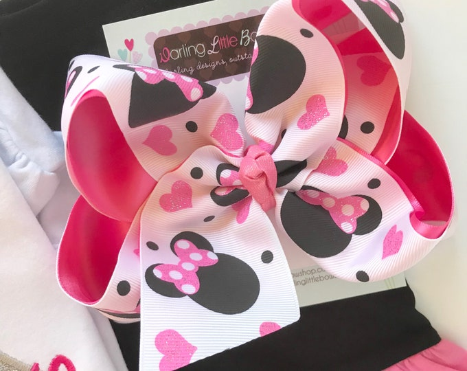 "Miss Mouse Bow, pink, hot pink and black with glitter hearts and mouse ears in a large 6-7"" bow -- optional headband"