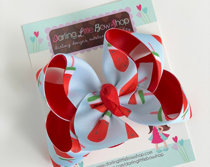 "Hairbows to match Matilda Jane Brilliant Daydream - Popsicle Stand - choose 4-5"" or 6"" bow"