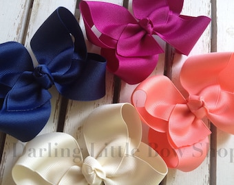 Large Boutique Bow Set -- Colors to Match Matilda Jane -- Coral, Blueberry, Ivory, Fuschia