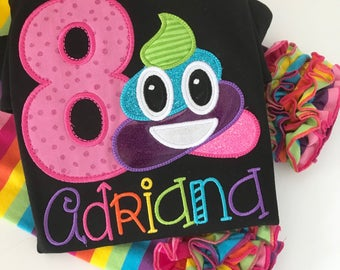 Poop Emoji Birthday shirt for girls -- Unicorn Poop Emoji -- Black shirt with bright colors with unicorn poop and her name in rainbow colors