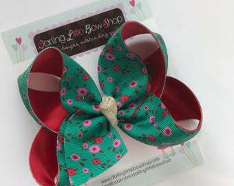 """Hairbow to match Matilda Jane Make Believe -- Holly Days -- choose 4-5"""" or 6-7"""" bow"""