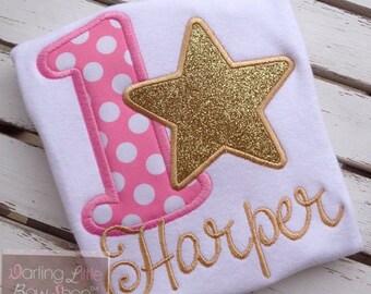 Baby Girl First Birthday Bodysuit or Shirt -- Twinkle, Twinkle -- star bodysuit or shirt in pink and gold princess theme