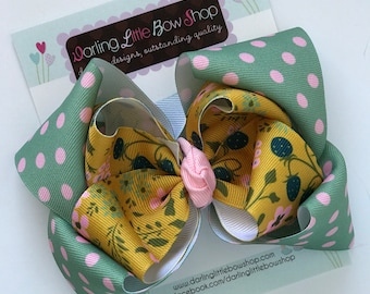 """Hairbows to match Matilda Jane Joanna Gaines Release - Summer Thicket - 5"""" double stacked bow"""