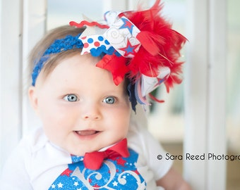 Over The Top Bow -- extra large 6-7 inch bow on royal blue headband -- Red, White and Blue for July 4th -- Patriotic Bow