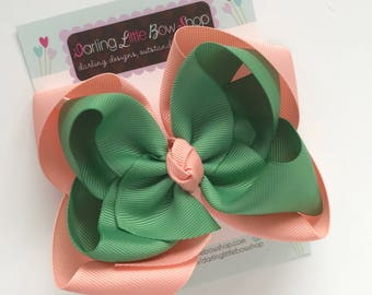 """Double Stacked Sage and Peach Bow to match Matilda Jane Camp MJC Just Us Girls dress -- choose 5"""" or 6"""""""
