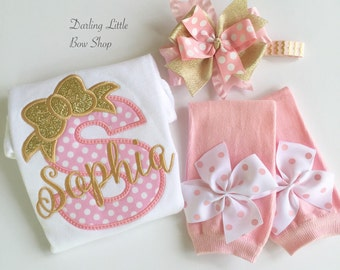 Newborn Take Home Outfit - Baby Girl outfit in pink and gold - 'Her First Bow' - Take Me Home Outfit