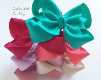 """Hairbow Set -- 6 Colors to Match Matilda Jane Once Upon A Time -- choose 3"""", 4"""", 5"""" or 6"""" bows -- m2m Matilda Jane"""