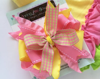 """Pineapple hairbow, Lemonade bow, yellow and pink layered hairbow-- layered bow in 4-5"""" size"""