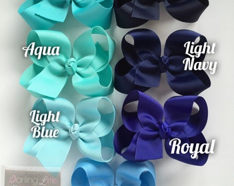 """Blue Bow, Blue Hairbow -- CHOOSE from 7 shades -- navy, light navy, royal, blue, light blue, aqua, turquoise -- 3"""" 4"""" 5"""" or 6"""" bow"""