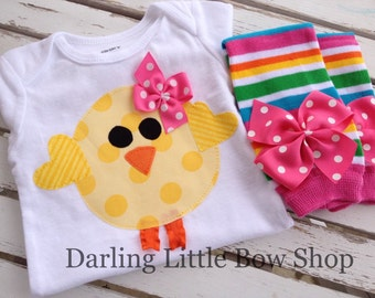 Baby Girls Easter Outfit -- Sunshiney Day -- Easter chick bodysuit and leg warmers in bright pink, yellow, orange and turquoise