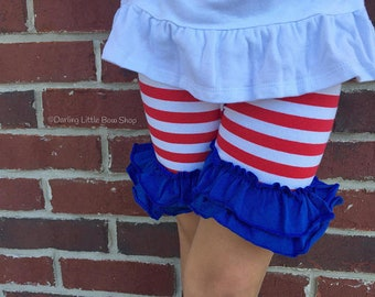 Star Spangled Ruffle Shorties, Red White and Blue Ruffle Shorts - knit ruffle shorties sizes 6m to girls 10 - Free Shipping