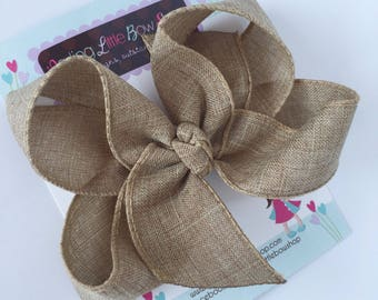 Burlap Bow -- tan with hints of gold choose 4 inch or 5 inch bow -- burlap look perfect for Autumn