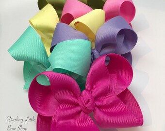 """Hairbow Set -- 6 Colors to Match Matilda Jane The Adventure Begins -- choose 3"""", 4"""", 5"""" or 6"""" bows in six colors"""