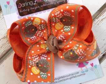 Turkey Bow -- Fall Thanksgiving Bow --- Glitter turkey hairbow for Thanksgiving
