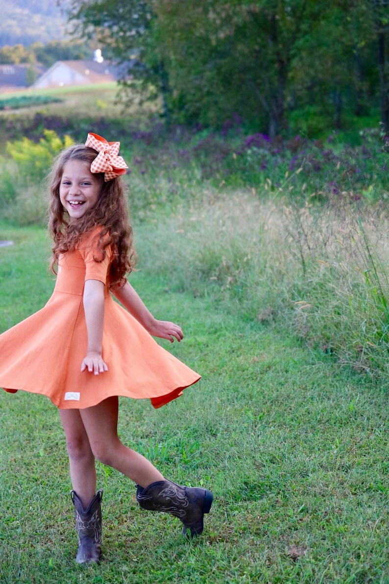 Pumpkin Dress for Girls Twirly Dress a beautiful burnt shade image 0
