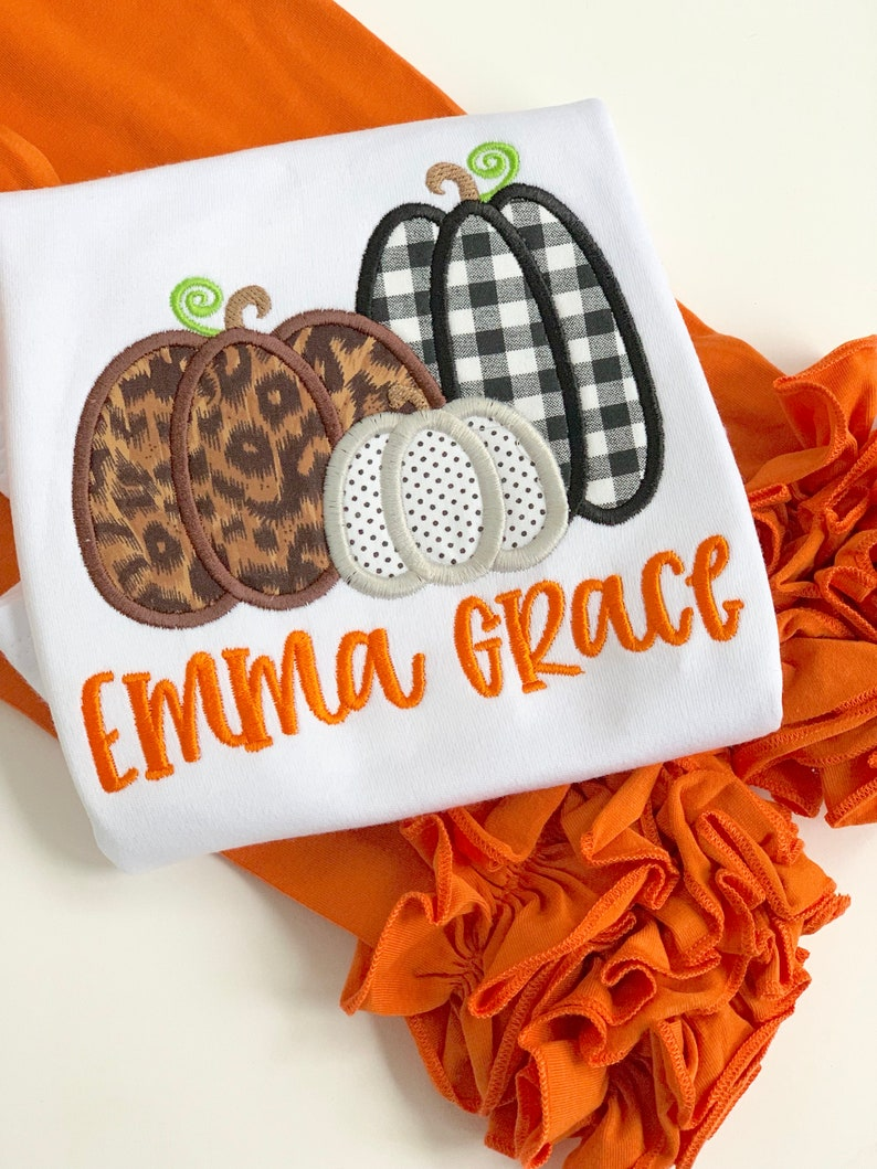 Pumpkin shirt or bodysuit for girls  Farmhouse Pumpkin Patch image 0
