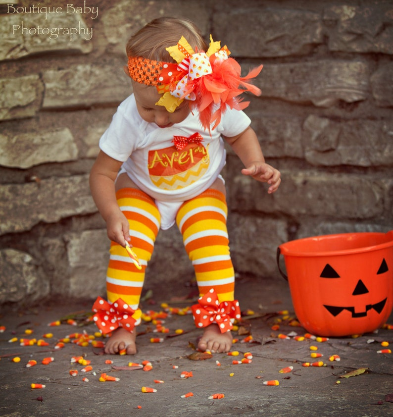 Baby Girl Halloween Outfit  Candy Corn Sweetie  bodysuit image 0