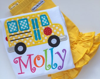 Girls School Bus Shirt, bus shirt for back to school, first day of Kindergarten, yellow bus shirt