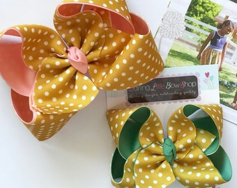 """Hairbows to match Matilda Jane Joanna Gaines Release - Hay Day - choose 4-5"""" or 6"""" bow"""
