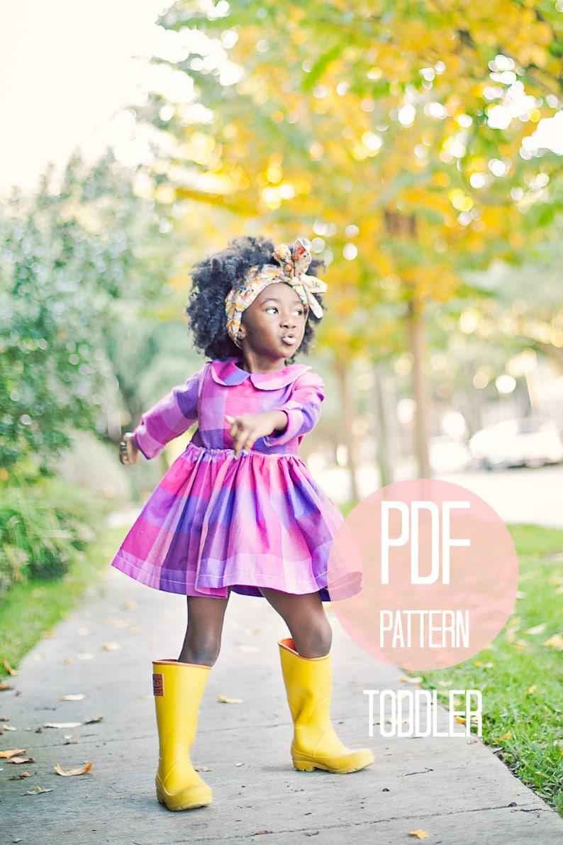 08142fcc8 Toddler Peter Pan Collar Dress Pattern PDF Easy Quick Sewing