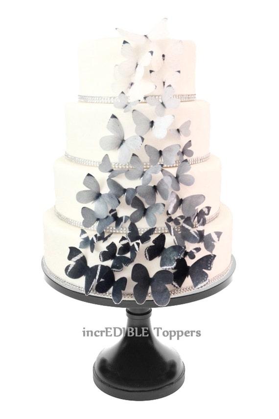 Schwarz Grau Ombre Hochzeitstorte Dekorationen Essbare Etsy
