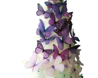 Wedding CAKE TOPPER - Edible Cake Topper, Ombre Edible Butterflies in Purple, Butterfly Cake, Cake Decorations, Cake Supply