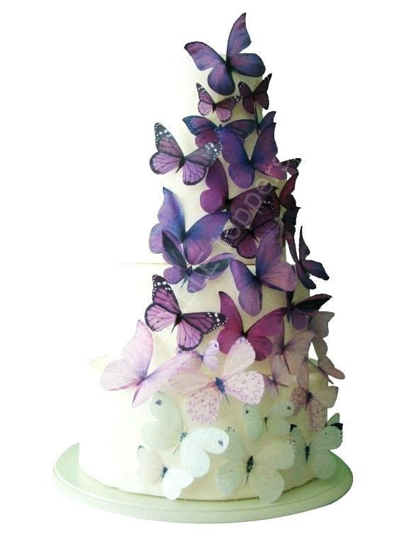 Wedding Cake Topper Edible Cake Topper Ombre Edible Butterflies