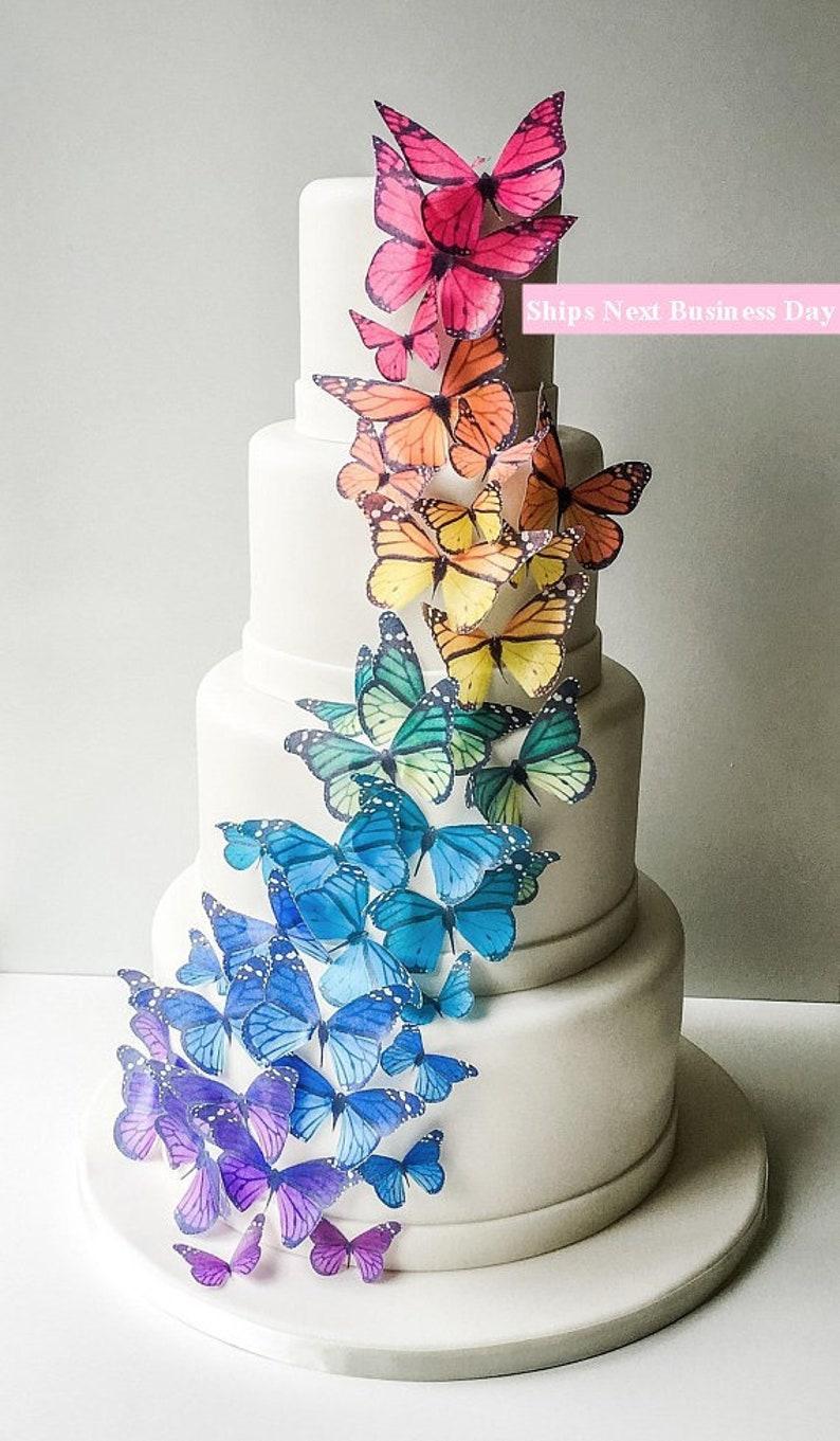 Wedding Cake Topper Edible Butterflies Rainbow Wedding Cake Etsy