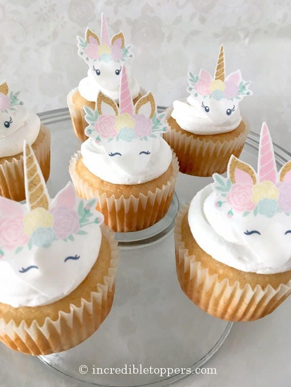 Unicorn Cake Topper Party Cupcakes Clipart Decorations Birthday Favors