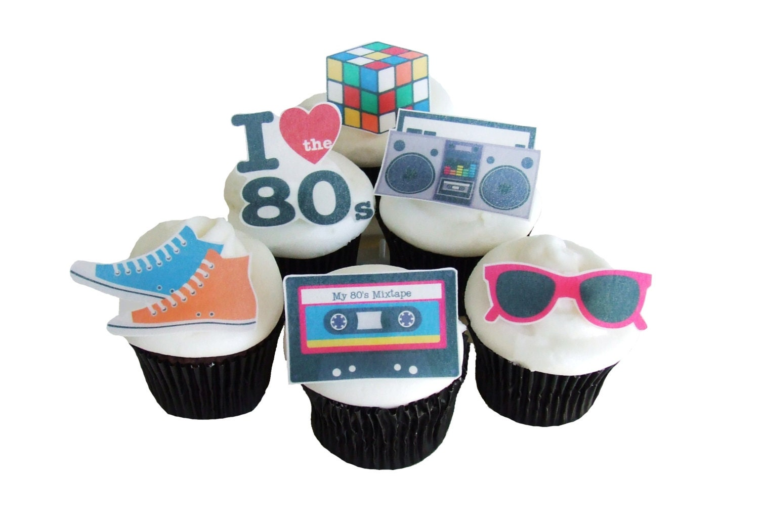 80s Cake Topper 12 Edible Birthday Cupcake Party Decorations