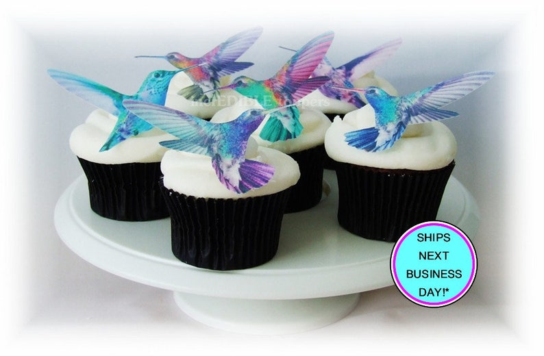 Hummingbird Cake Topper 12 Edible Cupcake Decorations Etsy