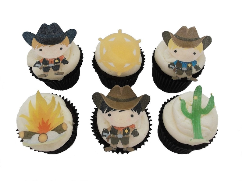 e3cf3df4e39 Cowboy Cake Topper 12 Edible Birthday Party Cupcake
