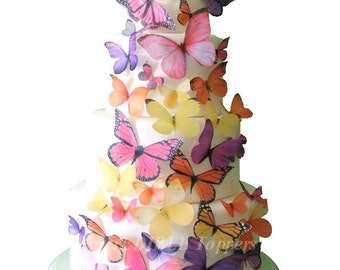 BUTTERFLY CAKE, Birthday Cake Topper - The Audrey 30 Edible Butterflies - Wedding Cake Decorations, Edible Cake Decorations, Cake Topper
