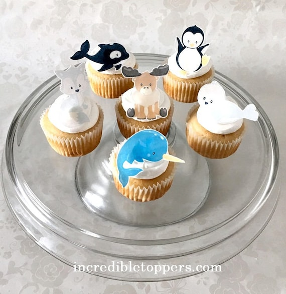 Arctic Animals Cake Topper Edible Decorations Cupcake Toppers