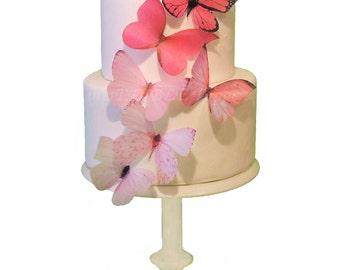 Cake Topper - 6 Pink Ombre Edible Butterflies - Wedding Cake Toppers, Cake Decorations, Pink Butterfly Cake