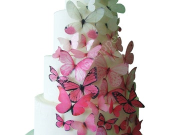 incrEDIBLE Toppers - Ombre Edible Butterflies in Pink - Cake Toppers, Cake Decorations, Cake Designs, Cake Decorating, Cake Supplies