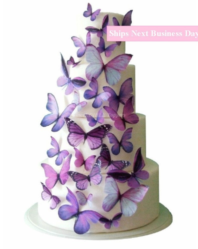 Wedding Cake Topper Edible Butterfly Cake Decorations Etsy